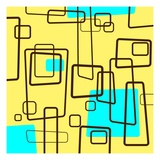 Retro Square Pattern Blue and Yellow Giclee Print