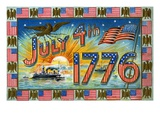 July 4th 1776 with Military Ships at Sunrise Giclee Print