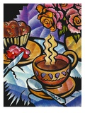 Coffee with Cupcake on Table Giclee Print