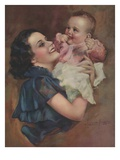Illustration of Mother Holding Baby by Laurent Potter Giclee Print