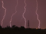 Multiple Lightning Strikes in Dallas Photographic Print by Mike Theiss