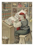 Christmas Postcard with Santa Checking Book of Names Giclee Print by Alexandra Day