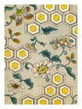 Illustration of Blossoms on a Yellow and Grey Honeycomb Background Giclee Print