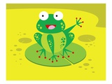 Happy Frog Waving from Lilypad Giclee Print
