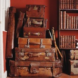 Stack of Antique Leather Suitcases Photographic Print