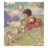 Illustration of Heidi and Her Goats by Jessie Willcox Smith Giclee Print