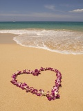 Heart Shaped Lei on Beach Photographic Print