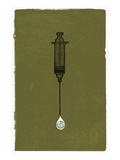 A Syringe with a Drip of Medicine That Has a Globe in It Giclee Print