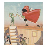 Illustration of Peter Pan and Captain Hook Sword Fighting by Roy Best Giclee Print