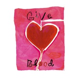 Give Blood Sign with Heart Giclee Print by Linda Ketelhut