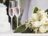 Wedding bouquet and champagne glasses Photographic Print by Marnie Burkhart