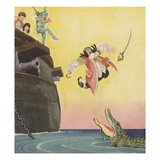 Illustration of Captain Hook Falling Overboard by Roy Best Giclee Print