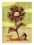 Man Watering Money Flower as a Good Investment Giclee Print