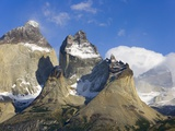 Rugged and Misty Cuernos del Paine Peaks Photographic Print by John Eastcott &amp; Yva Momatiuk