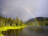 Rainbow Over Reflection Lakes in Mt. Rainier National Park Photographic Print by Craig Tuttle