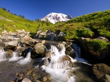 Waterfall and Mt. Rainier Photographic Print by Craig Tuttle