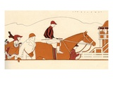 Illustration of Racehorse Owners Seeing off Their Horse and Jockey for a Race by L. Fellows Giclee Print