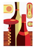 two bottles of wine and a corkscrew Giclee Print
