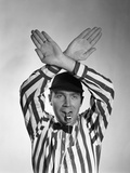 1950s Football Referee Making Hand Signal Time Out Blowing Whistle Photographic Print by  DeBrocke