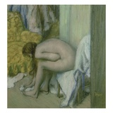 After the Bath, Woman Drying her Left Foot Giclee Print by Edgar Degas