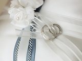 Wedding rings tied to pillow Photographic Print by Marnie Burkhart