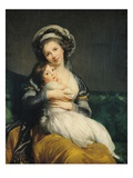 Self-Portrait in a Turban with Her Child Giclée-Druck von Elisabeth Louise Vigee-LeBrun