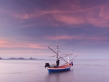 Fishing Boat at Sunset in Gulf of Thailand Photographic Print by Gavriel Jecan
