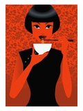 Women Eating Noodles Giclee Print