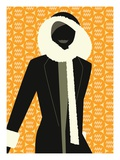 Woman Wearing Winter Coat Giclee Print