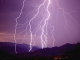 Lightning Strikes in the Foothills near Tucson Photographic Print