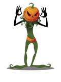 Scary Pumpkin Head Man Standing Giclee Print