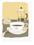 coffee pot with cup and sugar cubes Giclee Print