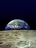 Earth Rising Over Moon Reprodukcja zdjęcia