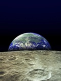 Earth Rising Over Moon Photographic Print
