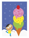 A Little Boy Looking at a Giant Ice Cream Cone Giclee Print