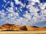 Dunes in Namib Desert Under White Clouds Photographic Print by Frank Krahmer