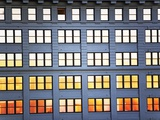 Sunset Reflection From Office Building Windows Photographic Print by Alan Schein