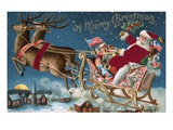 A Merry Christmas with Santa in His Sleigh Reproduction procédé giclée