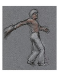 Illustration of a Jai Alai Player in Motion by Alexandra Day Giclee Print by Alexandra Day