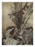 Fairies Never Say, 'We Feel Happy'; What They Say Is, 'We Feel Dancey' Giclee Print by Arthur Rackham