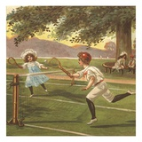 Illustration of Children Playing Lawn Tennis Giclee Print