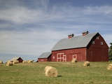 Hay Bales and Red Barn Photographic Print by Terry Eggers