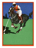Color Lithograph of Polo Player on Horse Giclee Print