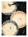 Illustration of Three Umbrellas in Snow Giclee Print