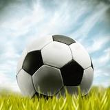 Soccer Ball Resting on Grass Fotografisk tryk