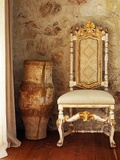 A Pot Is Kept Beside a Chair Against the Wall in the House Photographic Print by Tim Street-Porter