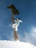 Snowboarder Mid-Air During Jump Photographic Print
