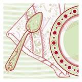 A Green and Red Place Setting Giclee Print