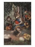Postcard of Easter Rabbit Decorating Eggs Reproduction procédé giclée