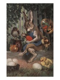 Postcard of Easter Rabbit Decorating Eggs Giclee Print